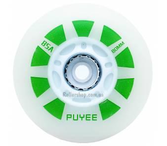 Светящиеся колеса для роликов Puyee зеленые item_0