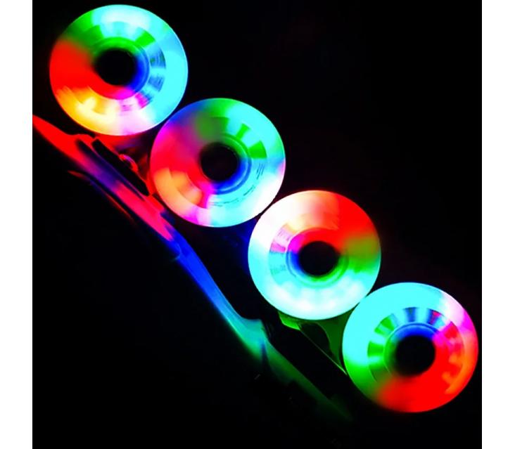 Светящиеся колеса для роликовых коньков Puyee разноцветные popup